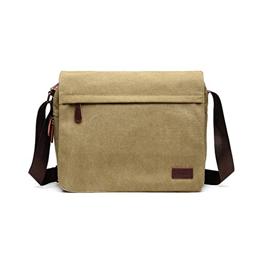 Kono Messenger Bags Retro Canvas Briefcase Crossbody Single School Shoulder Bag For 13' laptop,Multiple Pocket (Khaki)