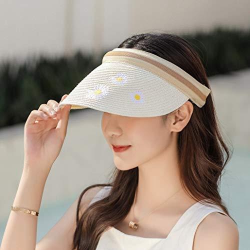 Giftik Sombrero de paja con visera para mujer, de ala ancha para verano, protección UV, para playa, plegable, estilo coreano, estilo coreano, sombrero en topless