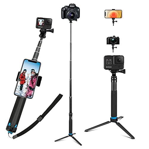 JYPS Upgraded Pole for GoPro, Waterproof Selfie Stick with Aluminum Alloy Monopod Tripod Compatible with GoPro Hero(2018) Hero 9 8 7 6 5 4 3+ 3 2 1 Session, AKASO, Xiaomi Yi,SJCAM SJ4000 SJ5000 More