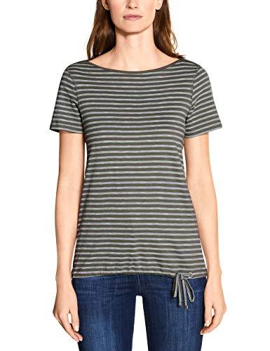 Cecil Damen 314911 Fine Stripe T-Shirt, Simply Khaki, Large