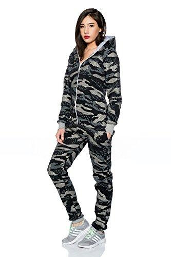 Crazy Age Jumpsuit Overall Einteiler CA 2840 Trendigen Camouflage Farben (Schwarz) - 3