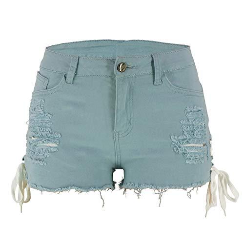 Pantalones cortos de mezclilla para mujer Moda cintura baja Color sólido Sexy Streetwear Trend, Azul claro, XL