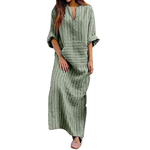 Vestido de mujer de algodón y lino, estilo vintage, estampado a rayas, holgado, con bolsillo delantero, informal, holgado, largo, largo, holgado, para la playa