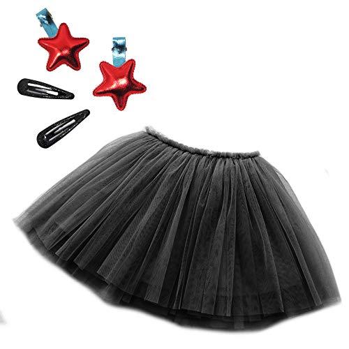 GOOGOUT Gonna Tutu in Tulle Bambina Ballerina Danza Festa con Accessori (Black, 120)