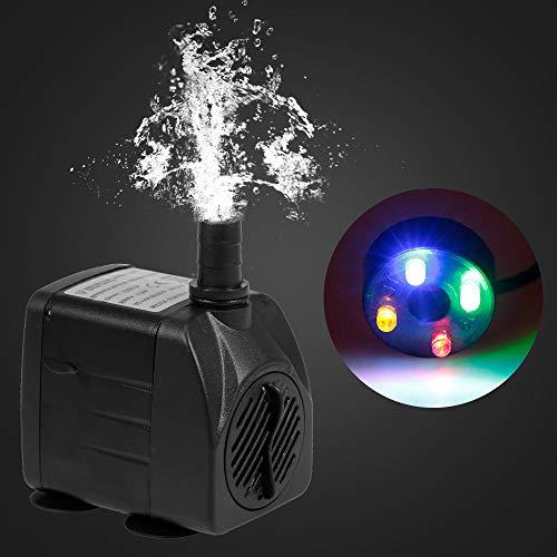 Weehey 15W Ultra-leise USB-Wasserpumpe mit Netzkabel IP68 wasserdicht für Aquarium Brunnen mit 4 LED-Licht