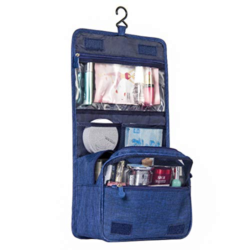 Travel Hanging Toiletry Bag Organizer-Compact Cosmetic Makeup Shaving Dopp Kit Bag for Women & Men with Strong Hook & Pocket-Hygiene Waterproof Travel Toiletries Bag-Toilet Bathroom Shower Accessories