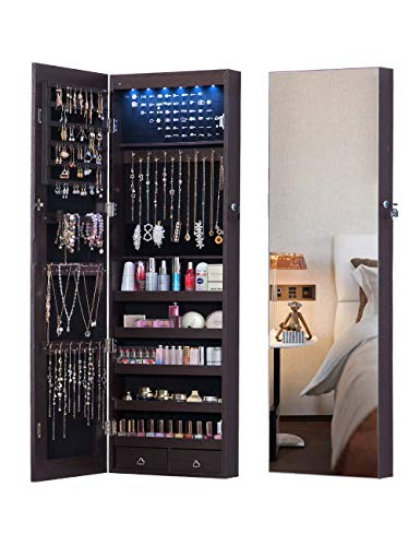 AOOU 6 LED Mirror Jewelry Cabinet Full Screen Display jewelry Armoire Organizer,47.3