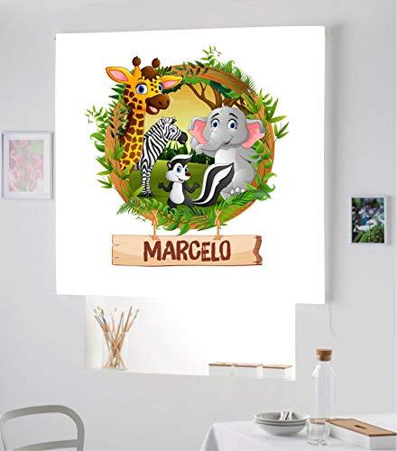 Estor Infantil Digital DE Animales de la Selva REF-001 con Nombre¡¡ ESTORES ENROLLABLES TRANSLUCIDOS Animales DE LA Selva A Todo Color PON TU Nombre¡¡ (180X170)