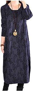 [シオン] 3色展開 秋色 上品 チュニック ワンピース 長袖 花柄 ゆったり レディース M~XL