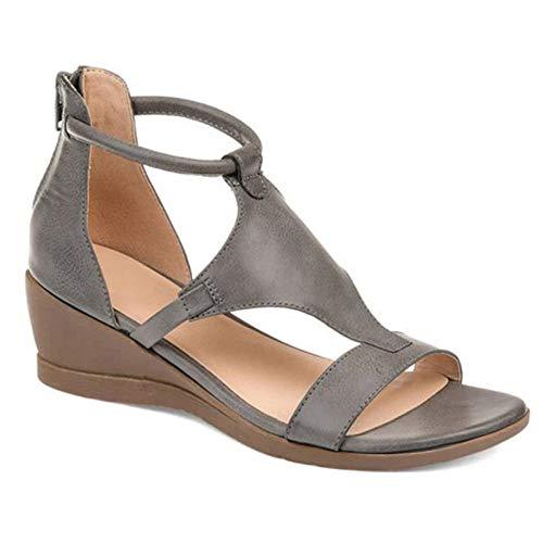 LWYY Damensandalen,Graue Frauen Sommersandalen, Mid Heels Wedges Schuhe Frau Vintage Pu Reißverschluss Retro Sandale Damen Open Toe Fashion Freizeitschuh, 37