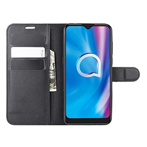 DAMAIJIA für Alcatel 3L 2020 Hüllen Klapphülle PU Leder Silikon Wallet Schutzhülle Schutz Mobiltelefon Flip Back Cover für 3L 2020 Alcatel 5029D Tasche Handy Zubehör (Black)