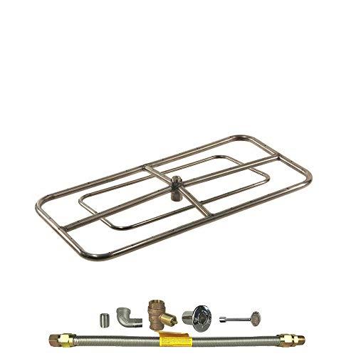 1 Set of Rectangle Fire Pit Burner Kit, 48X24, Match Light, Natural Gas