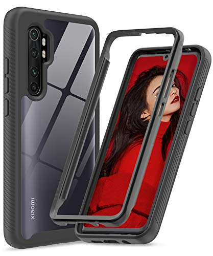 LeYi Hülle für Xiaomi Mi Note 10 Lite,Durchsichtig Stoßfest Handyhülle Transparent Silikon Schutzhülle Hard PC Weich Gel Slim Bumper TPU Clear Cover für Mi Note 10 Lite schwarz