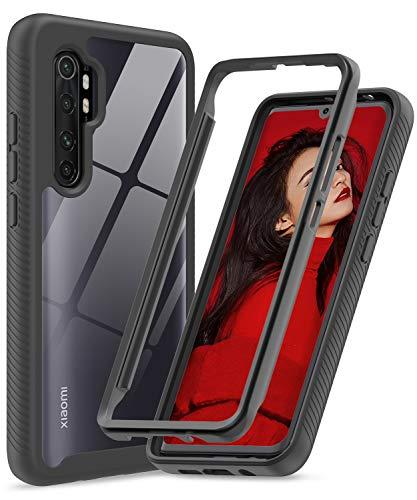 LeYi Hülle für Xiaomi Mi Note 10 Lite,Durchsichtig Full Body Stoßfest Handyhülle Transparent Silikon Schutzhülle Hard PC Weich Gel Slim TPU Bumper Clear Cover für Mi Note 10 Lite schwarz