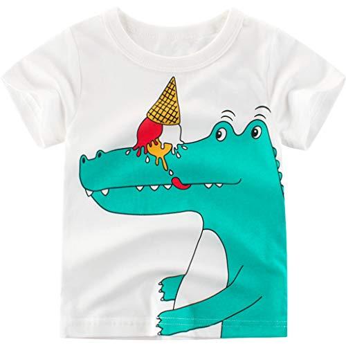 ZEZKT T-Shirt Bébé Garçon Fille Manche Courte Imprimé Animal Couture Chemise Tee Shirt Été Col Rond en Coton Enfant Bébé Garçons Tops Blouse Tee 1-6 Ans