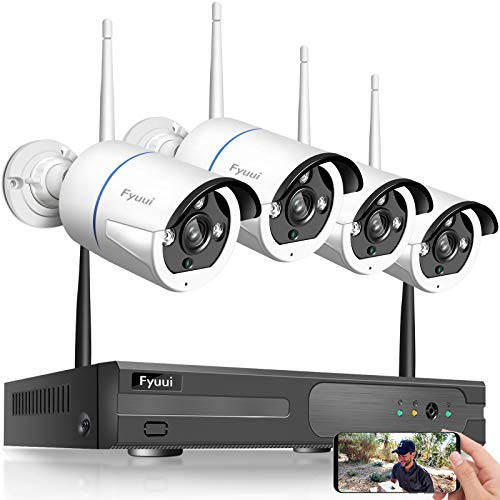 【Two Way Audio】 Wireless Security Camera System,Fyuui 8 Channel 1080P Wireless Surveillance H.265+ NVR 4pcs 2.0 Megapixel (1920×1080P) WiFi IP Bullet Camera Outdoor Indoor, Remote View
