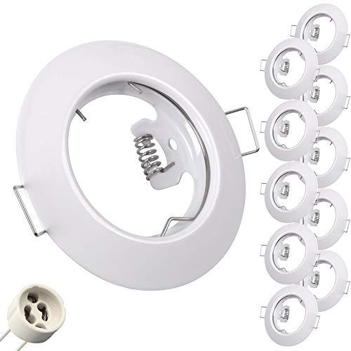 10x Einbaurahmen Einbau-Strahler inkl. 10x GU10 Fassung Weiß Einbauringe Decken-Spots Rahmen Gehäuse LED Rahmen Einbaurahmen 863A