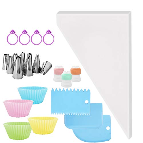 ZJW 100Pcs Pastry Piping Bag for Cake Decorating, Sturdy and doesn't Rip Off Easily, Come with 10Pcs Icing Piping Tips, 3Pcs Adapters, 3Pcs Cake Scrapers, 4Pcs Cake Cup