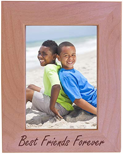 Best Friends Forever Engraved Natural Alder Wood Picture Tabletop/Hanging Photo Wooden Frame (8x10-inch Vertical)