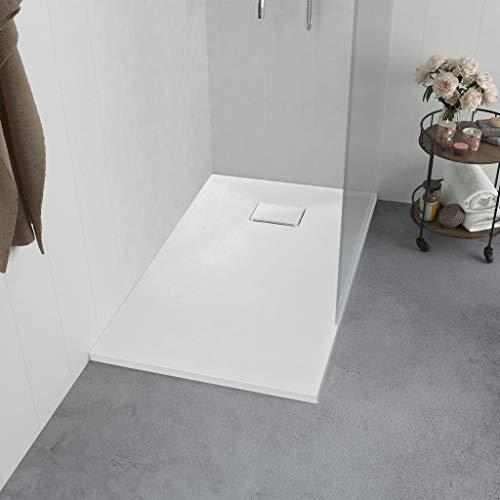 UnfadeMemory Duschwanne SMC Duschtasse Ø 9 cm Ablauföffnung Niedrige Schwelle Rechteck Badezimmer SMC-Duschwanne Rutschfest Wanne (90 x 70 cm, Weiß)