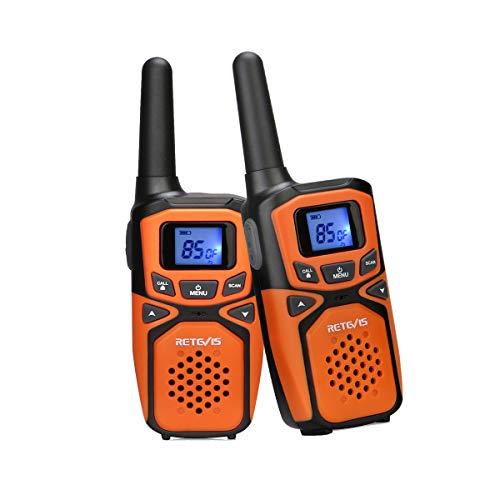 Retevis RA615 Walkie Talkie, PMR446 LPD Licencia Libre, 85 Canales, VOX 10 Tonos de Llamada, Pantalla LCD Retroiluminada, Radio Bidireccional para Exteriores Familiares (1 Par, Naranja)