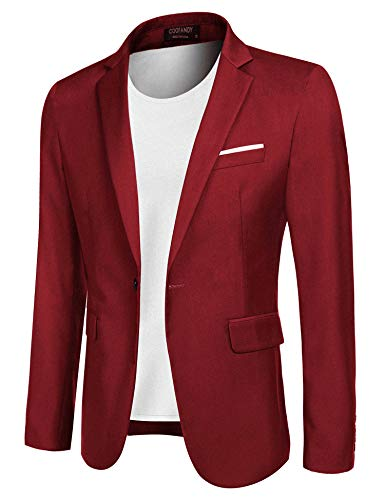 COOFANDY Men's Casual Blazer Jacket Slim Fit Sport Coats Lightweight One Button Suit Jacket (Red, Small)