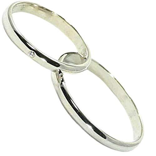 [京都ジュエリー工房] 結婚指輪 マリッジリング 甲丸 2.2mm幅 プラチナ pt900 ペアリング ブライダルリング 2本セット ハンドメイド PT900 ダイヤ 入り mari-kou2hon-cyu-d メンズ20号・レディース22号