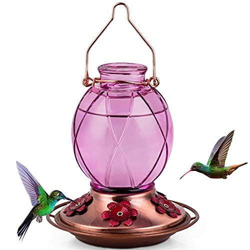 BOLITE 18016-P Hummingbird Feeder, Glass Hummingbird Feeder for Outdoors, Netted Texture Ball Shape Bottle, 18 Ounces, Lavender