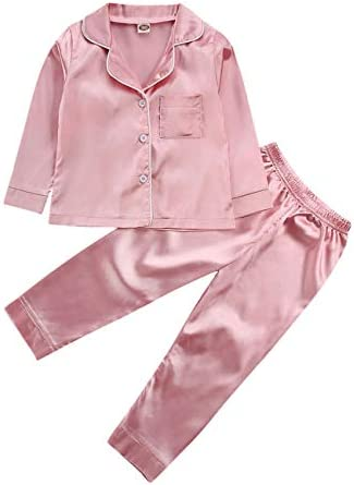Toddler Baby Kids Satin Pajamas Set Long Sleeve Button Down Sleepwear PJs for Girls 3Y A Pink product image