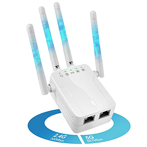 DIWUER WLAN Repeater 1200 Mbit/s, WLAN Verstärker 2.4GHz/5GHz Doppelantennen, Hohe Übertragungsrate WiFi Extender mit Access Point/WPS/Ethernet Port für 250㎡Haus