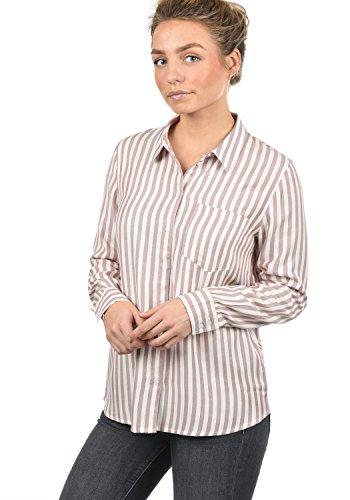 ONLY Mia Damen Lange Bluse Hemdbluse Langarm Mit Streifen-Muster Loose Fit, Größe:42, Farbe:Woodrose