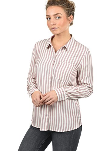 ONLY Mia Damen Lange Bluse Hemdbluse Langarm Mit Streifen-Muster Loose Fit, Größe:40, Farbe:Woodrose