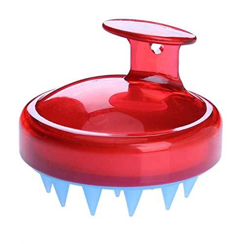 Zachte Siliconen Tanden Shampoo Hoofdhuid Massage Borstel Haarreiniging Hoofdhuid Massage Cleanse Comb (Kleur : Rood)