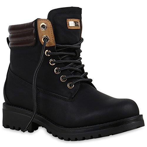 Warm Gefütterte Stiefeletten Damen Worker BootsOutdoor Winterstiefel Schnür Wildleder-Optik Schuhe 125746 Schwarz 38 Flandell