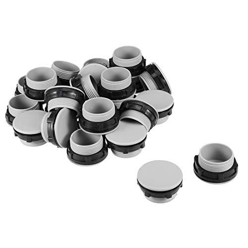 DyniLao 24 piezas 30 mm negro gris plástico pulsador interruptor agujero panel enchufe