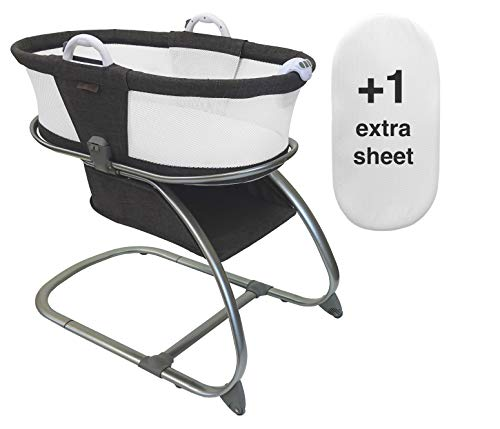 Luxe Premium Quality Baby Planet Oasis Breathable Mesh Convertible Bassinet Bundle with 1 Extra AirLoft Breathable Fitted Sheet (2 Total) (Graphite)