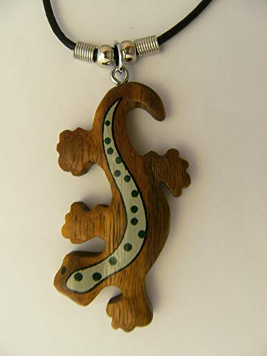 Cornelissen Kette Eidechse Holzanhänger Ketten Modeschmuck Tiere Tier Echse Gecko Salamander