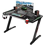 EUREKA ERGONOMIC Bureau Gamer Z2 Bureau pour Gaming pc Table Gamer Noir
