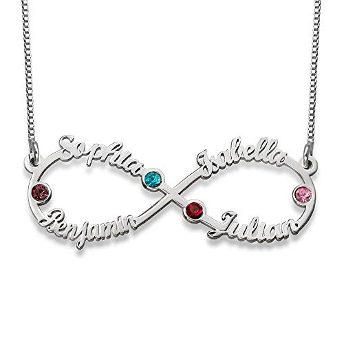 Baebaby Custom Infinity Four Names Necklace in 925 Sterling Silver-...