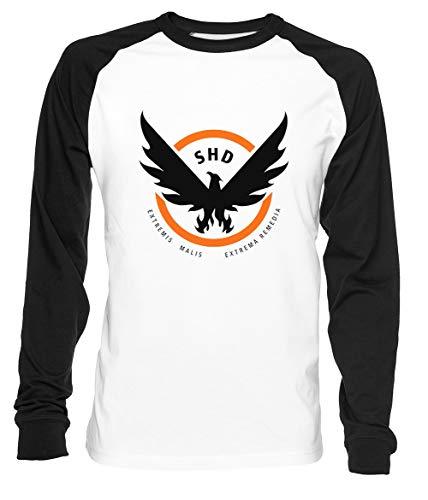Erido The Division Homme Femme Unisexe Baseball T-Shirt Blanc Noir Men's Women's Unisex Taille L Men's White T-Shirt Large Size L