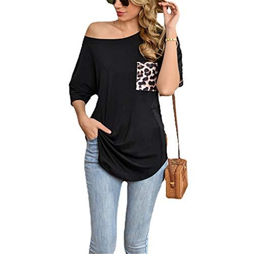 ZFQQ Camiseta de Manga Corta con Cuello Redondo y Estampado de Leopardo de Verano para Mujer