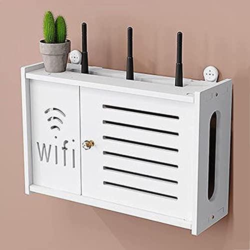 WOAIAI WIFI Router Almacenamiento Estante Inalámbrico Wifi Router Rack Montado en la Pared Socket Blindaje Alambre Acabado Caja de Almacenamiento Estante Flotante