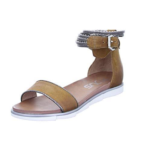 Mjus Damen Sandale 740075 Moderne Ledersandalette mit Fesselriemchen und Nieten Braun (Sella/INOX) Größe 38 EU