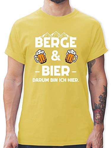 Après Ski - Berge und Bier - M - Lemon Gelb - T-Shirt - L190 - Tshirt Herren und Männer T-Shirts