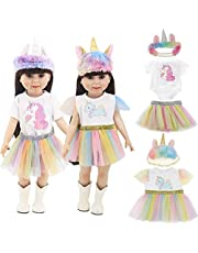 WENTS 45 cm dockor kläder docka enhörning kläder tryck klänningar kläder pannband overall pannband tutu för 45 cm amerikansk flicka leksak dockor, 5 st