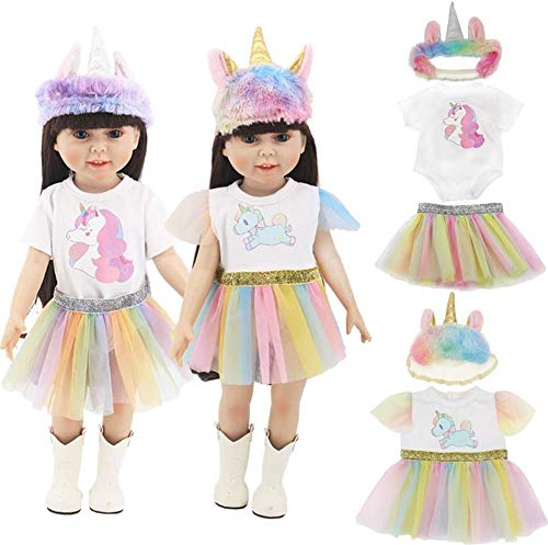 WENTS 18 Inch Dolls Clothes Doll Unicorn Clothes Print...