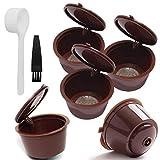 Runfon Filtro de café plástica cápsulas de café de Filtro Copas Recargable Filtro Reutilizable Cuchara Cepillo para Dolce Gusto Máquinas Brown