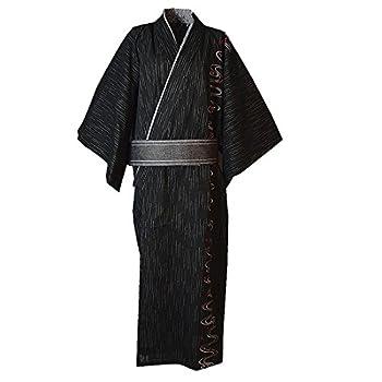 MAYSONG Men s Japanese Yukata Japanese Kimono Embroidered Robe Pajamas Dressing Gown M Black