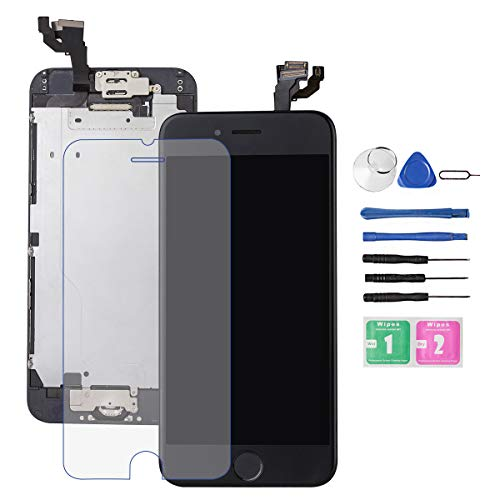 for iPhone 6 Screen Replacement Black, Drscreen 3D Touch Screen Digitizer for A1586/A1549/A1589 LCD Screen Full Assembly with Home Button and Camera,Earpiece,Proximity Sensor, Protector Repair Tool