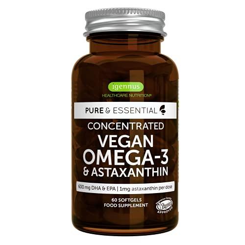 Pure & Essential Omega-3 Vegano, 1340 mg de Aceite de Algas (DHA + EPA 600 mg) y Astaxantina, 60 cápsulas blandas
